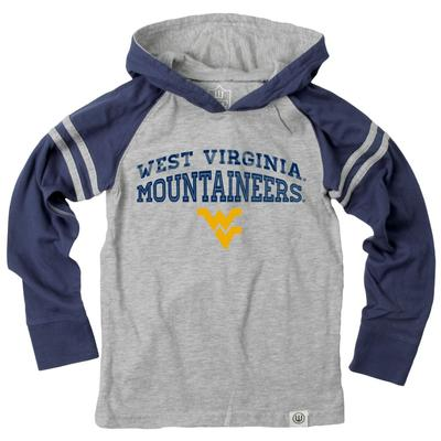 West Virginia Boy's Inline Arched Long Sleeve Hooded Raglan