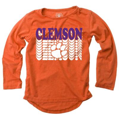 Clemson Girl's Burnout Long Sleeve Tee
