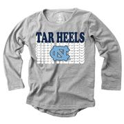 Unc Girl's Burnout Long Sleeve Tee