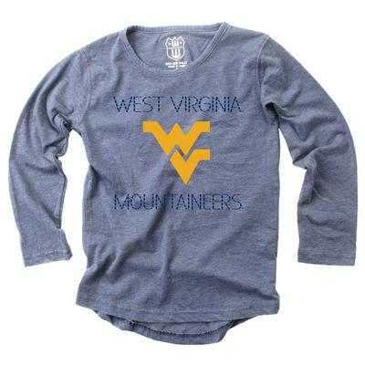 West Virginia Girl's Burnout Stitched Letters Long Sleeve Tee