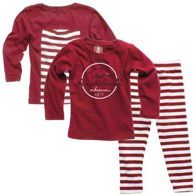 Arkansas Infant Long Sleeve Stripe Top and Leggings Set