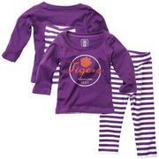 Clemson Infant Long Sleeve Stripe Top And Leggings Set