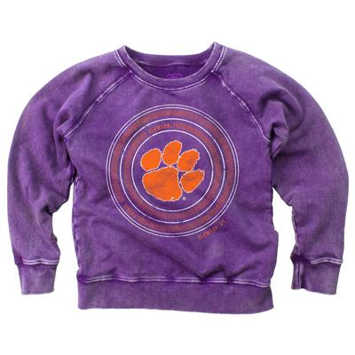 Clemson Girl's Faded Fleece Crew