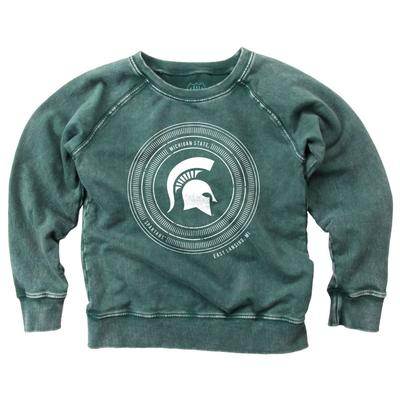 Michigan State Girl's Faded Fleece Crew