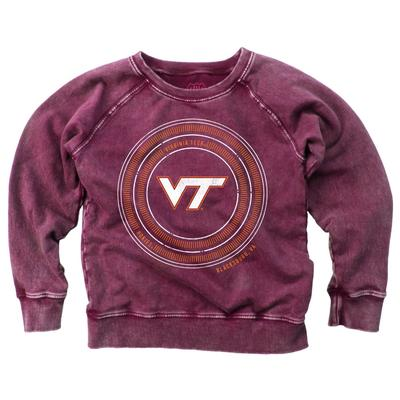 Virginia Tech Girl's Faded Fleece Crew