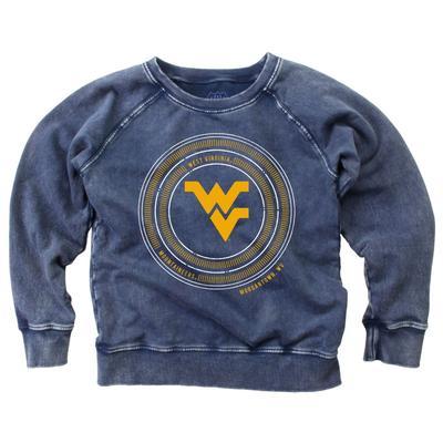 West Virginia Girl's Faded Fleece Crew