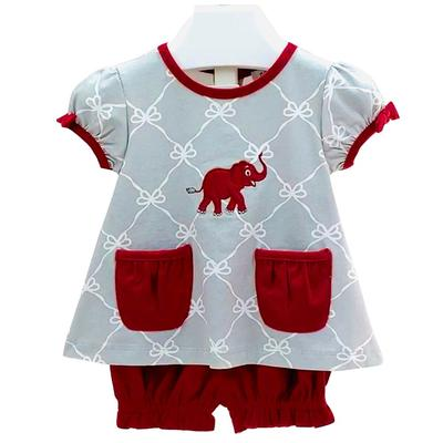 Ishtex Infant Grey and Crimson Tee and Bloomer Set