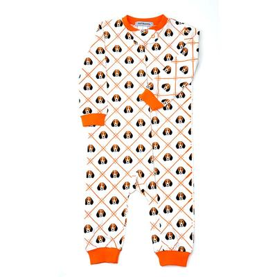Ishtex Infant White and Orange Dog Zip PJ