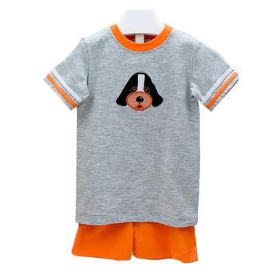 Ishtex Toddler Grey and Orange Tee and Shorts Set