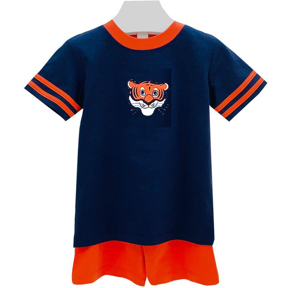 Ishtex Toddler Navy And Orange Tee And Shorts Set