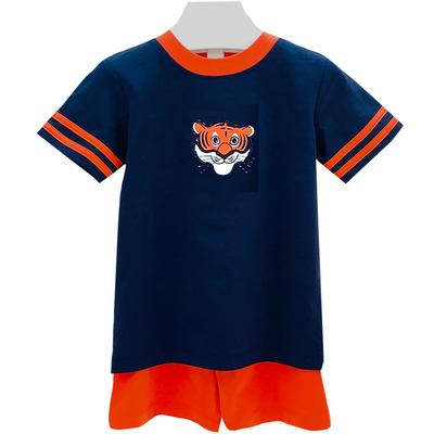 Ishtex Toddler Navy and Orange Tee and Shorts Set
