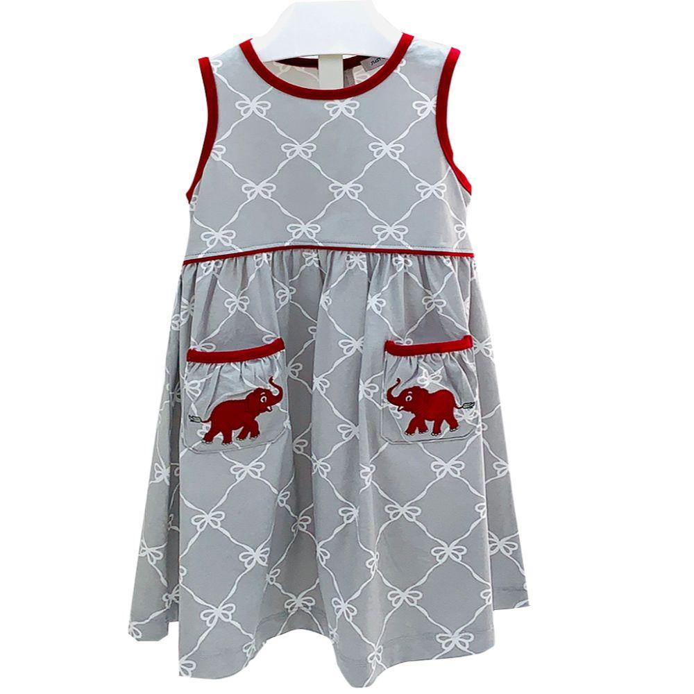 Ishtex Toddler Grey And Crimson Bow Print Tank Dress