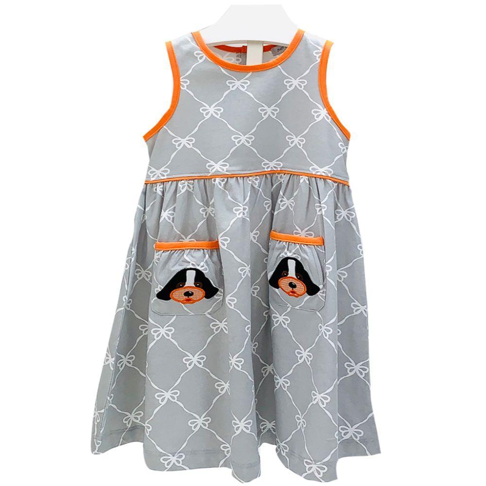 Ishtex Toddler Grey And Orange Bow Print Tank Dress