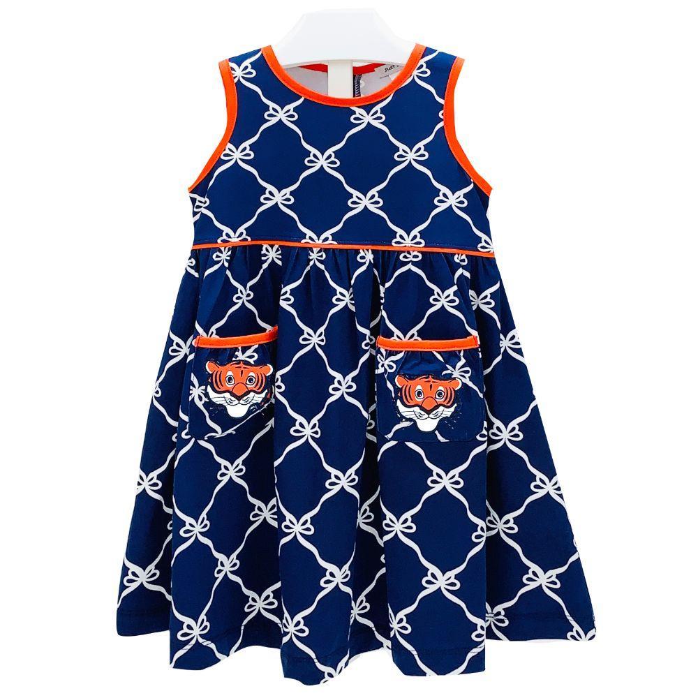 Ishtex Toddler Navy And Orange Bow Print Tank Dress