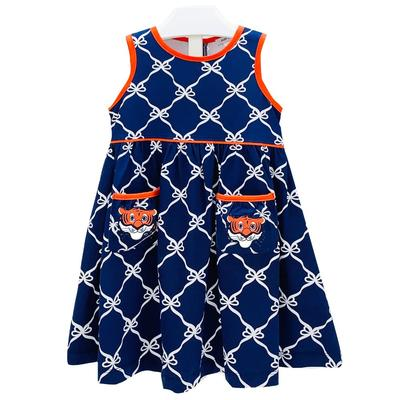 Ishtex Toddler Navy and Orange Bow Print Tank Dress