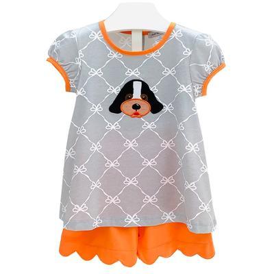 Ishtex Toddler Grey and Orange Tee and Short Set