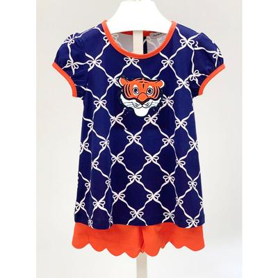 Ishtex Toddler Navy and Orange Tee and Short Set