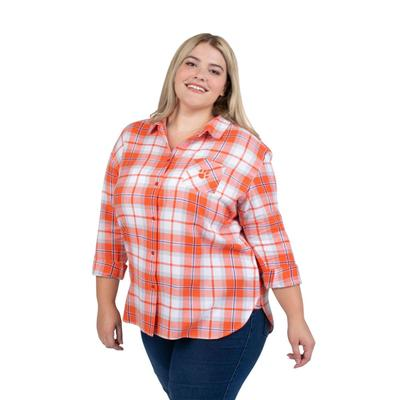 Clemson PLUS SIZE Women's Boyfriend Plaid Shirt