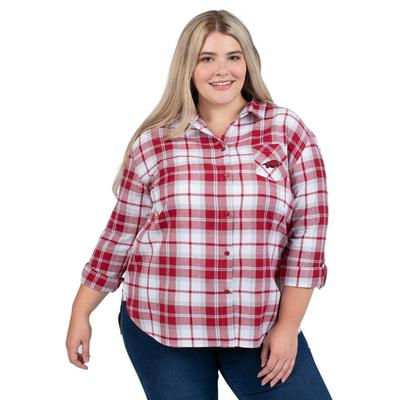 Arkansas PLUS SIZE Women's Boyfriend Plaid Shirt