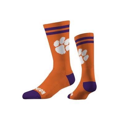 Clemson Strideline Paw Logo Crew Socks