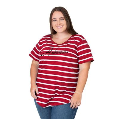 Arkansas PLUS SIZE Women's Stripe Tee