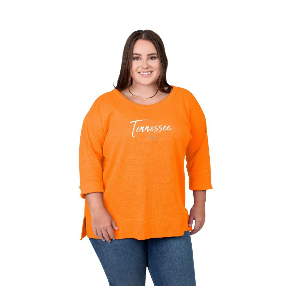Tennessee Plus Size Women's Boat Neck Waffle Top