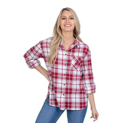 Alabama University Girls Women's Boyfriend Plaid Shirt