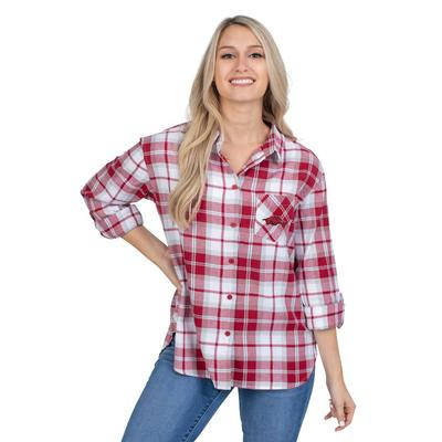 Arkansas University Girls Women's Boyfriend Plaid Shirt