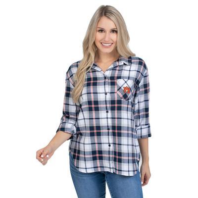 Auburn University Girls Women's Boyfriend Plaid Shirt