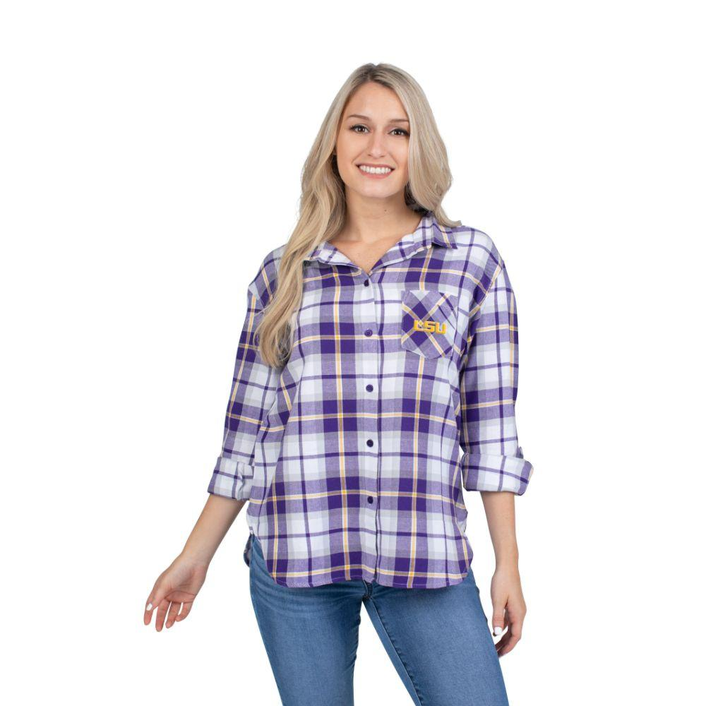 Lsu University Girl Women's Boyfriend Plaid Shirt