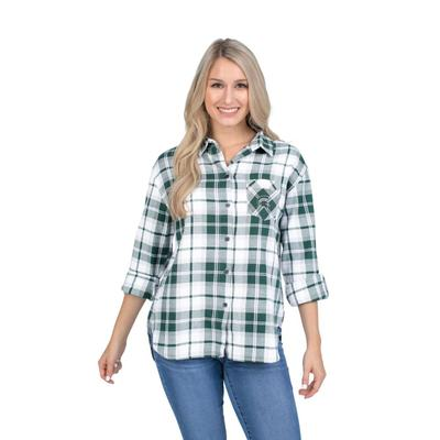 Michigan State University Girls Women's Boyfriend Plaid Shirt
