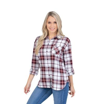 Virginia Tech University Girls Women's Boyfriend Plaid Shirt