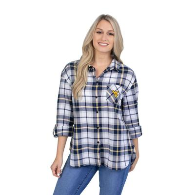 West Virginia University Girls Women's Boyfriend Plaid Shirt