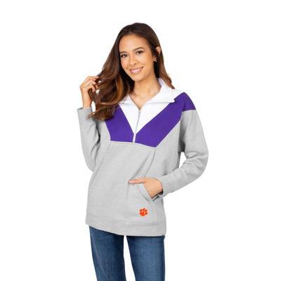 Clemson University Girls Women's Color Block 1/4 Zip Pullover