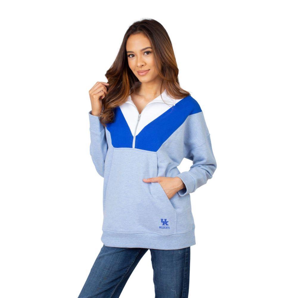 Kentucky University Girls Women's Color Block 1/4 Zip Pullover