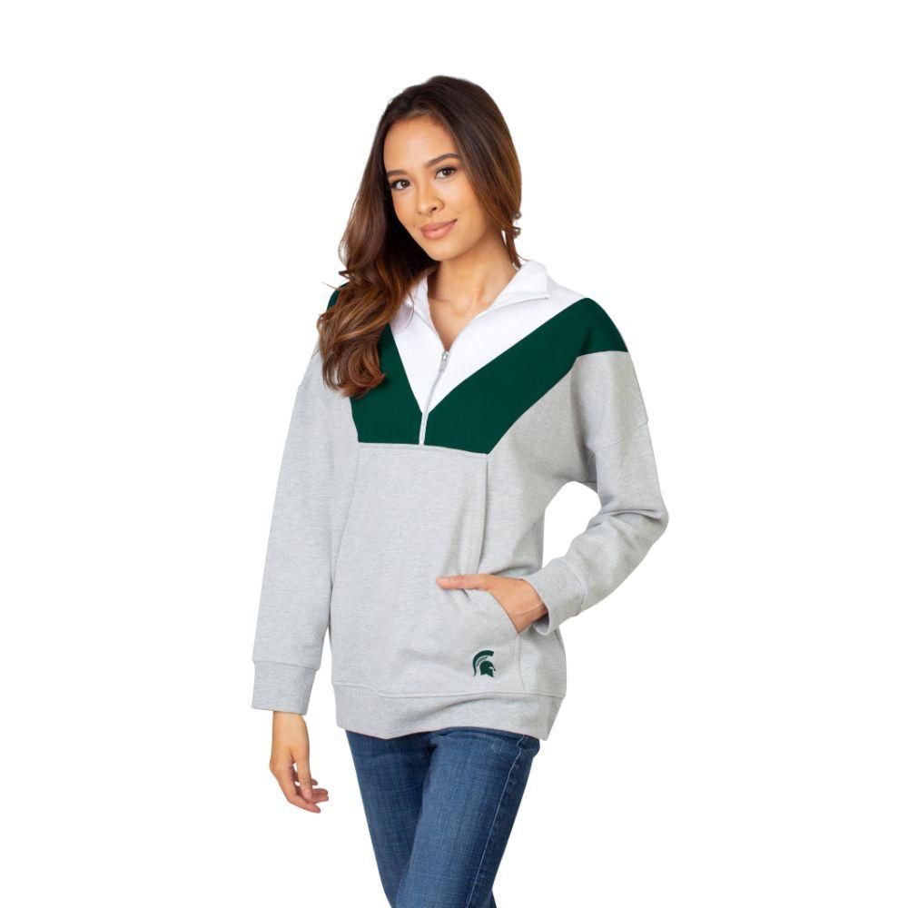 Michigan State University Girls Women's Color Block 1/4 Zip Pullover