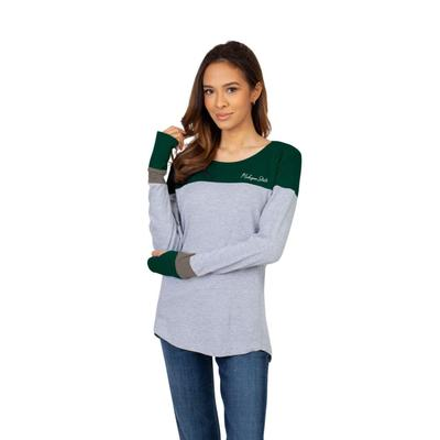 Michigan State University Girls Women's Color Block Long Sleeve Top