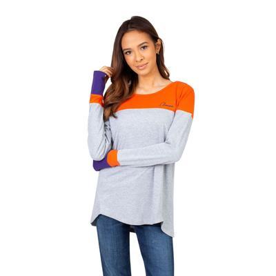 Clemson University Girls Women's Color Block Long Sleeve Top