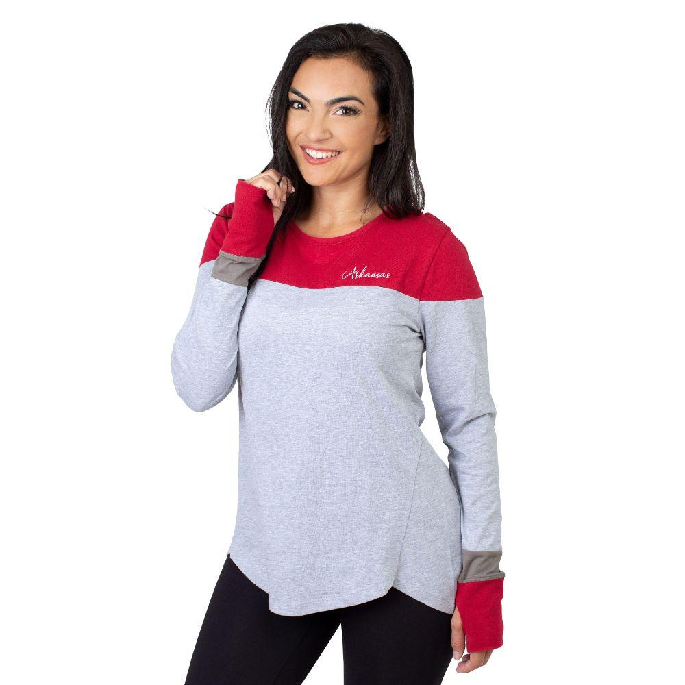 Arkansas University Girls Women's Color Block Long Sleeve Top