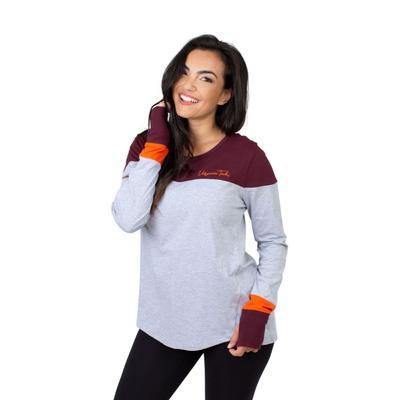 Virginia Tech University Girls Women's Color Block Long Sleeve Top