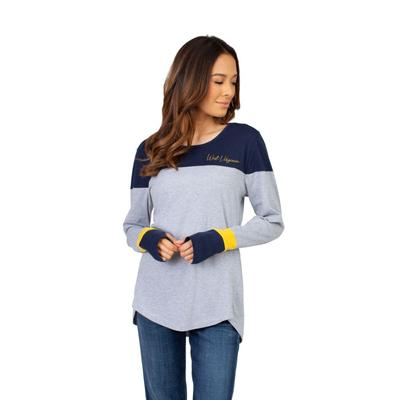 West Virginia University Girls Women's Color Block Long Sleeve Top