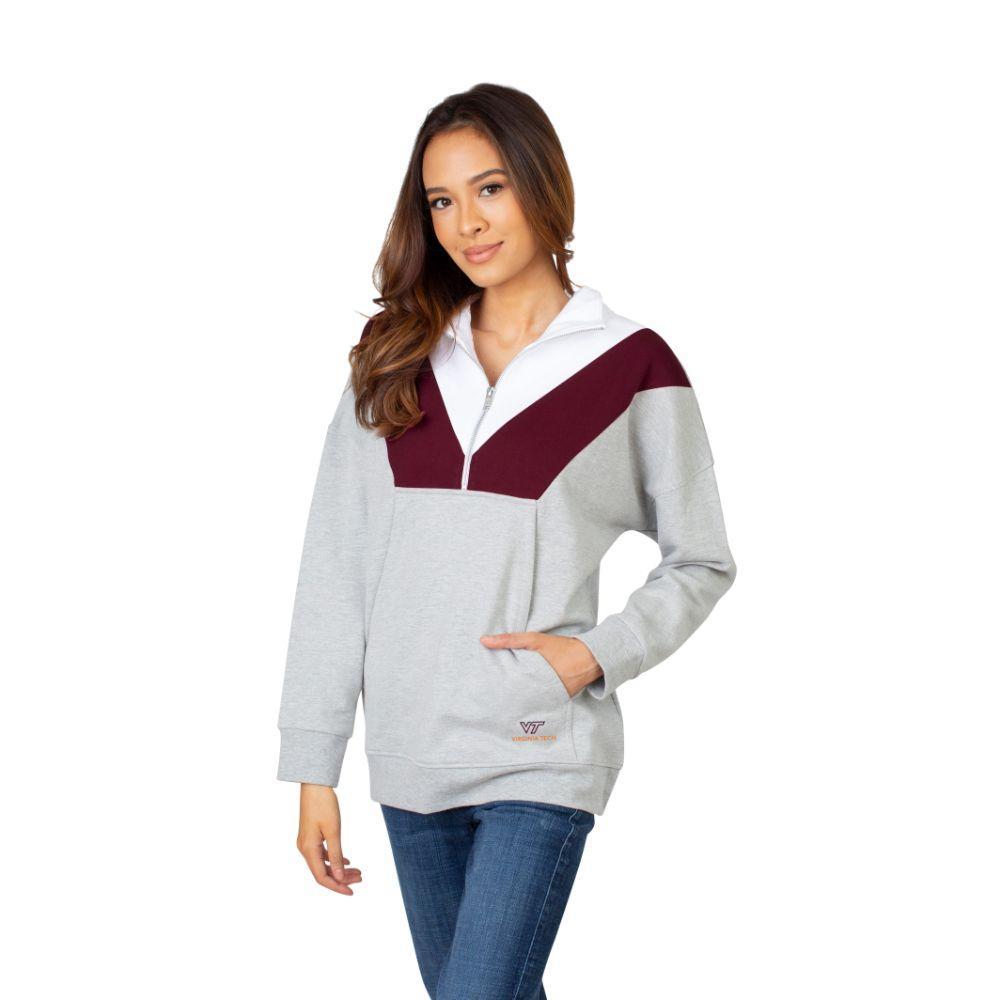 Virginia Tech University Girls Women's Color Block 1/4 Zip Pullover