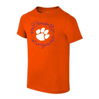 Clemson YOUTH Paw Logo with Script Circle Tee Shirt