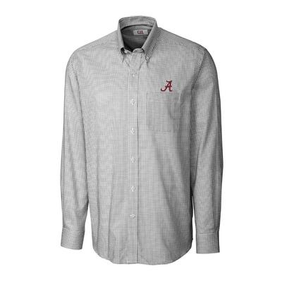 Alabama Cutter & Buck Men's Tattersall Woven Dress Shirt