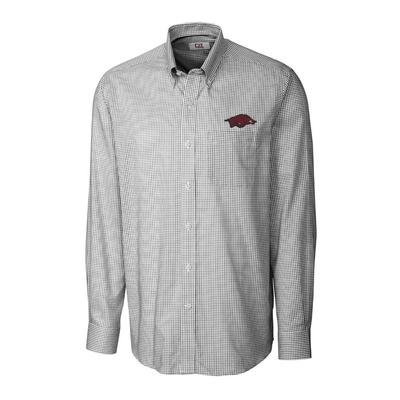Arkansas Cutter & Buck Men's Tattersall Woven Dress Shirt