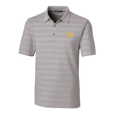 West Virginia Cutter & Buck Men's Forge Heather Stripe Polo