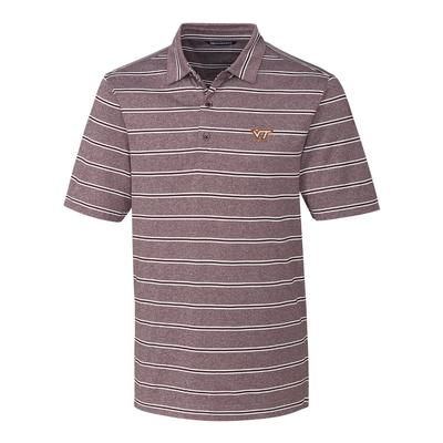 Virginia Tech Cutter & Buck Men's Forge Heather Stripe Polo