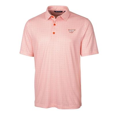 Virginia Tech Cutter & Buck Men's Pike Double Dot Print Polo