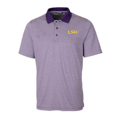 LSU Cutter & Buck Men's Forge Tonal Stripe Polo