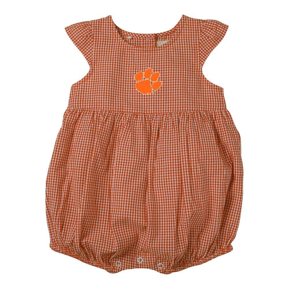 Clemson Infant Jillian  Gingham Ruffle Onesie